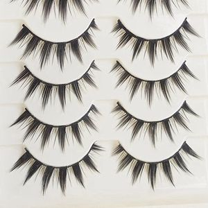 ZM13 5Pairs Japanese Serious Makeup False Eyelashes Black Long Cross Thick Eye Lashes Extension Tools