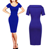 Oem Blue Short Sleeve Neck Design Cheap Lace Sexy Woman Fashion Dresses
