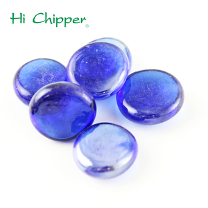 Cobalt colorful flat back colored glass pebbles for garden