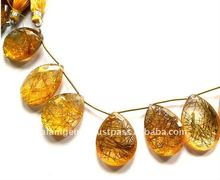 Crystal Quartz Golden Rutile Color Pear Briolette Loose Beads