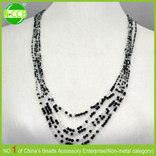 fashion long chain mixed Color black and white beaded necklace