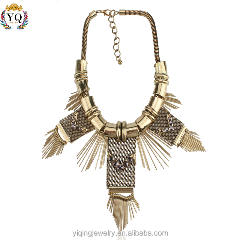 NYQ-00233 brazilian gold snake chain jewelry necklace with tassel