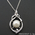 925 Sterling Silver Pearl Pendant Designs Rhodium Plated Modern Pearl Necklace DR032491P