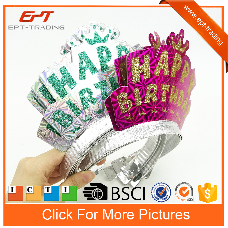Happy birthday party toys girl headband crown 12pcs