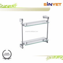 801 Bathroom accessory Wall mounted stainless steel 2 Tier Tempered Glass caddy floating corner shelves