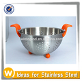 Stainless Steel Colander with Plastic Handle and Silicone Bottom