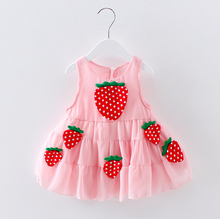 Hot sale Baby summer skirt kids party wear frocks 1 year old baby strawberry girl dress