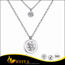 316L Stainless Steel Women Fashion Jewelry CZ Diamond Double Pendant Necklace 18k Gold Plated Silver Color