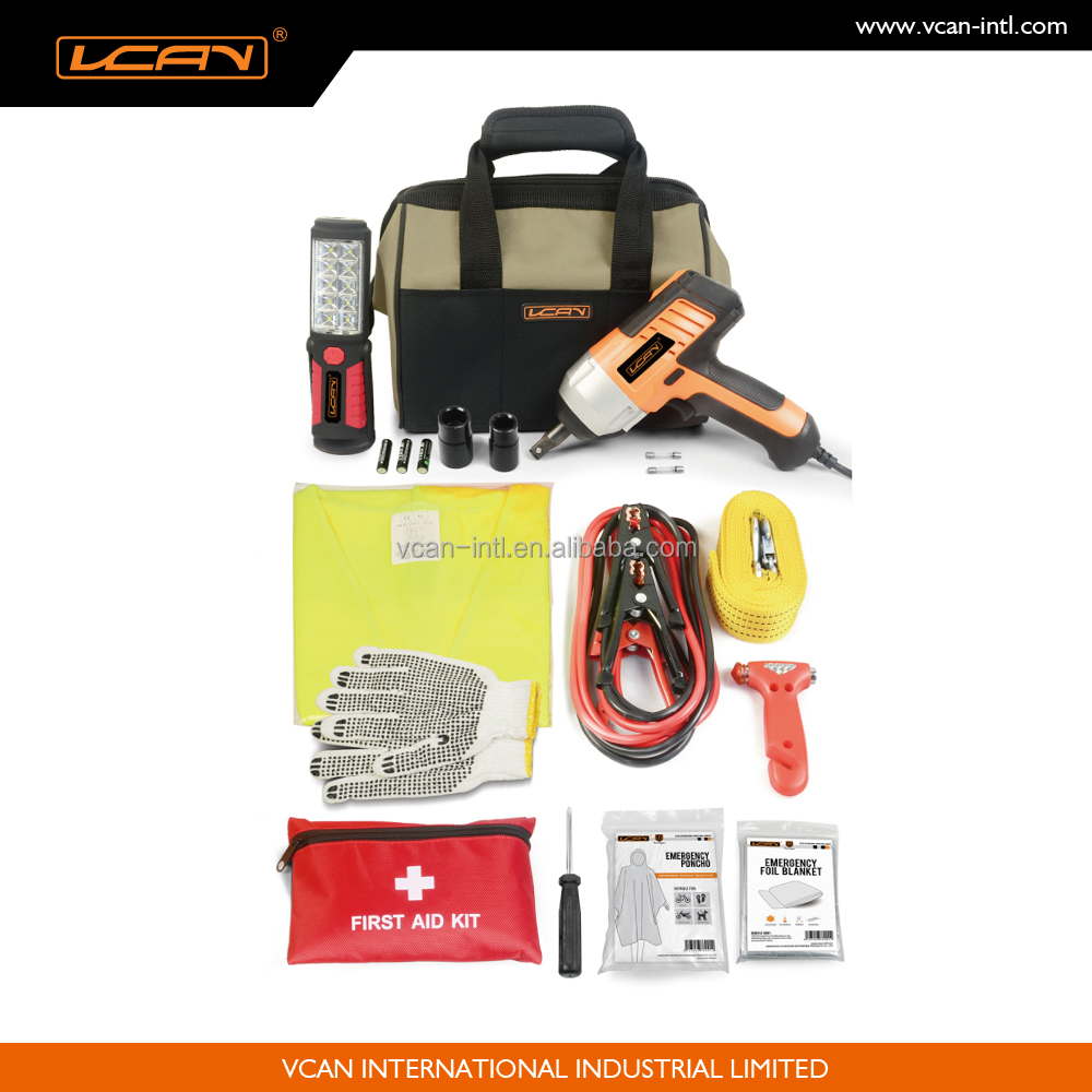 Auto survival tool car emergency kit with electric wrench