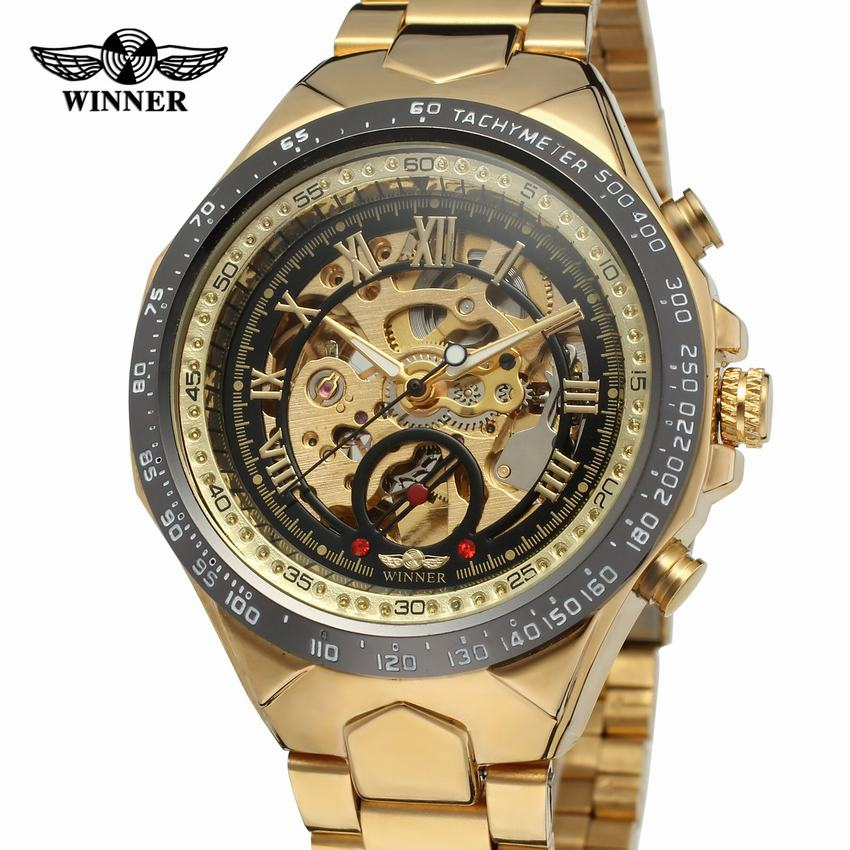 Winner luxury brands selling gold stainless steel skeleton table automatic mechanical watches