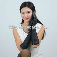 black tight opera length leather gloves with elastic sleeve