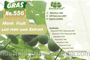 NSF-cGMP GRAS Natural Sweetner Organic Mogroside V Luo Han Guo/Monk Fruit Extract Sweetener