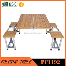 Bamboo Portable Folding Table And Chair Set