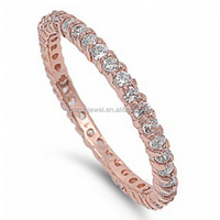 Rose Gold Imitation Diamond Eternity Ring 925 Sterling Silver Ring