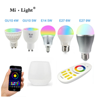 Milight Led Bulb 4W 5W 6W 9W GU10 E27 E14 RGBW RGBWW Lamps Wireless Wifi Controller Box 4-Zone 2.4G RF Remote Controller