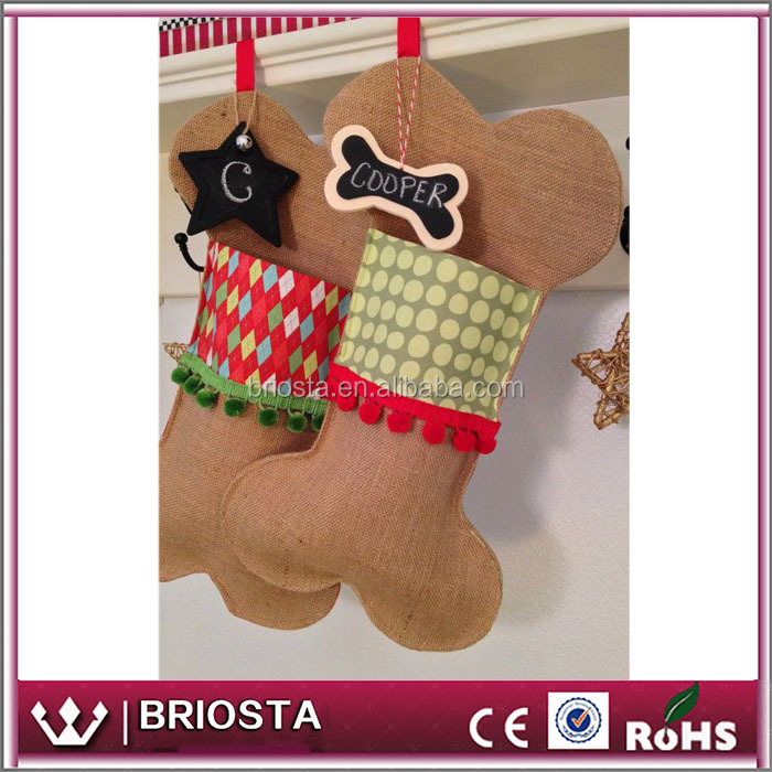 Wholesale Customized Personalized No Monogram Christmas Dog Bone Stockings