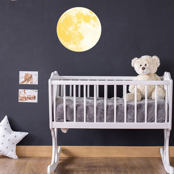 30CM Yellow Moon Wall Stickers Creative Glow in the Dark Light Luminous Wall Art Decals for Home Room