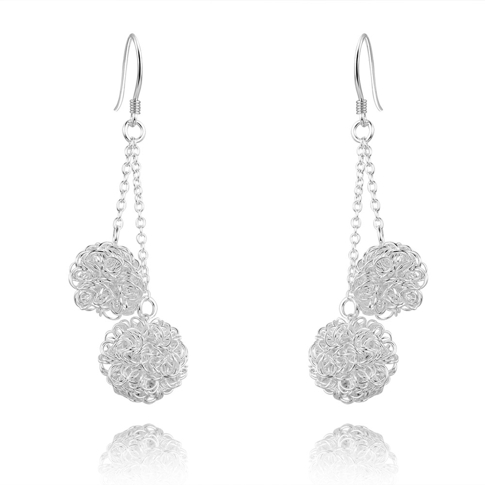 Latest Fashion Jewelry 925 Sterling Silver Dual Mesh ball flower shaped Drop Earrings for women girls teens