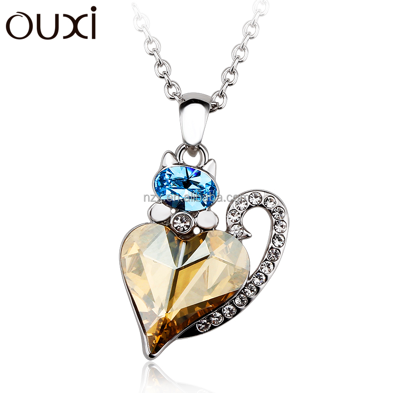 OUXI fashionable waiting love heart pendant necklaces/made crystal gold&rhodium plated necklace 10933