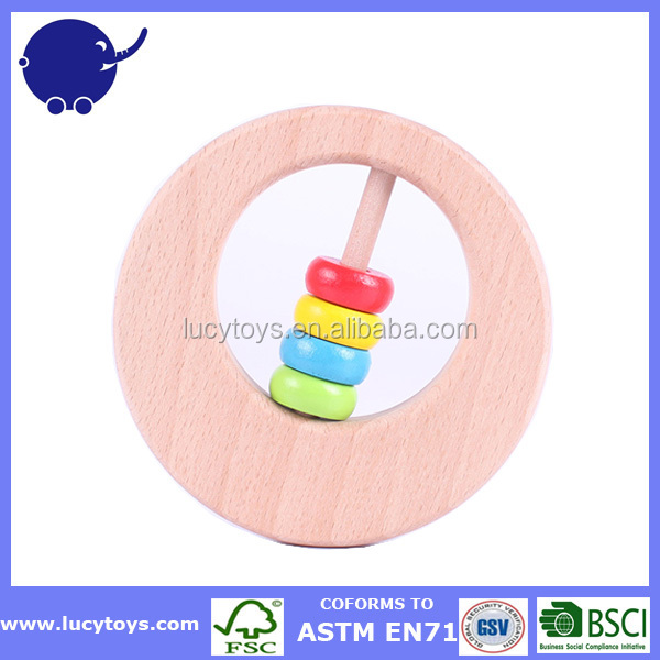 Natural Wood European Baby Teether Grasping Toy