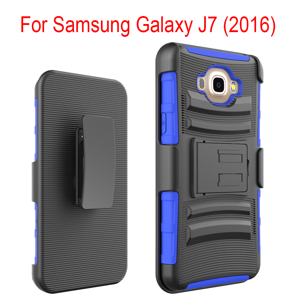 TPU PC Armor Holster Kickstand Combo Phone Case For Samsung Galaxy J7(2016)
