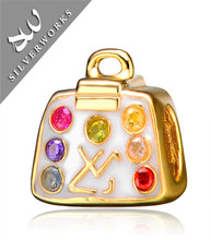 925 Sterling Silver Handbag Charm With Enamel and Gold Plated