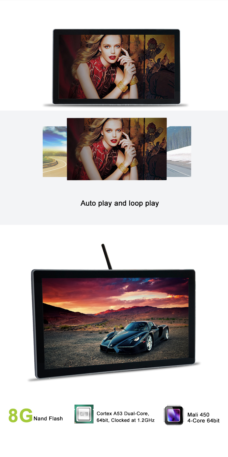 28inch Built-in WIFI module Digital player 4k photography shop video player