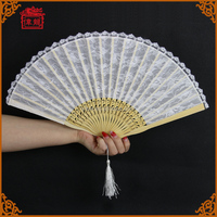 Wedding Guest Gift Personalized White Lace Hand Held Fans with tassel GYS902-5