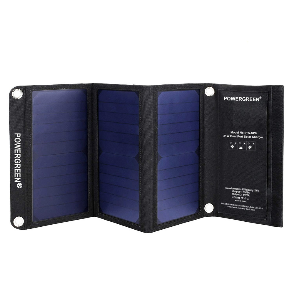 PowerGreen Multi Function Solar Charger 21W Folding Solar Bag for Camping