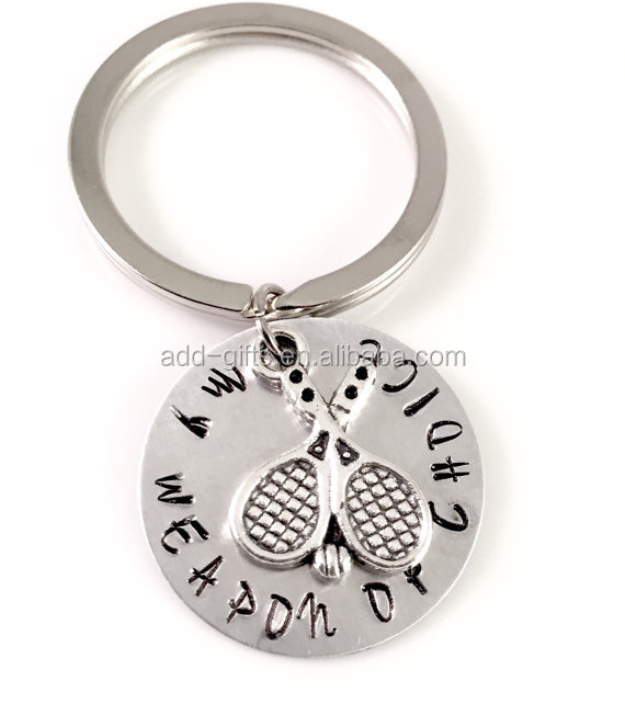 sports keychain, with engraved letters, for souvenir