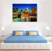 City night lanscape photo print on canvas painting art with led