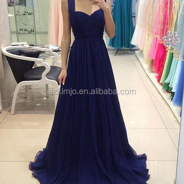 OEM Wholesale Sleeveless Chiffon Royal Blue Bridesmaid Dresses Long Cheap A Line Wedding Party Dress