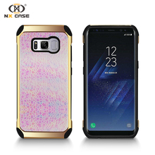 Customize top quality hard case handphone with glitter for samsung s8 active case