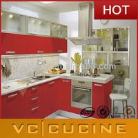 L shaped modular high gloss lacquer kitchen designs