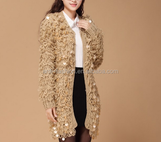 wholesale fashion loop fuzzy handmade knit wool cardigan sweater