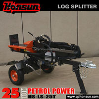 2014 Hot selling 100L three position with auto-return control valve recoil garden tool 25ton gas wood splitter