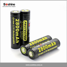 CE, RoHS, FCC certification 18650 battery Soshine 3.7V rechargeable 18650 lithium battery for flashlights