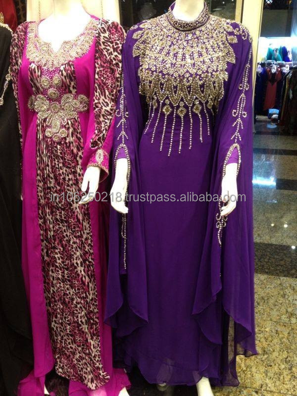 Purple Fashionable Latest elegant ethnic Middle East Kaftan arabic abaya design dubai islamic muslim dress k6998