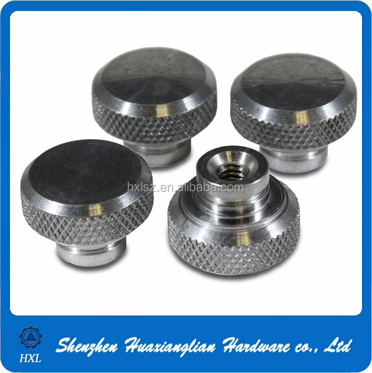 Custom made stainless steel m3 knurled thumb threaded nut with collar