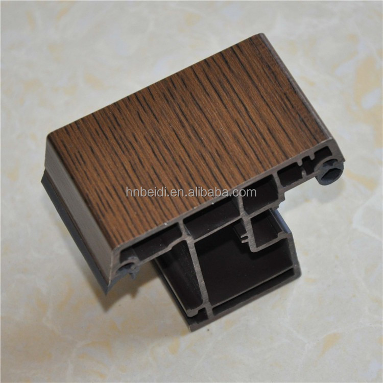 Brown color with film laminated casement usage upvc window profiles plastic pvc profiles for window and doors