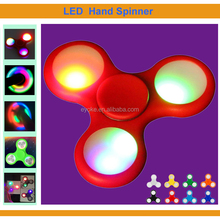 Good quality 3 colors LED light Finger Spinner with Turn on button