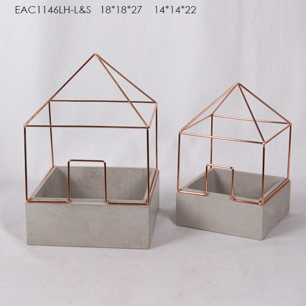 Decorative geometrical wire rack concrete flower plant pot