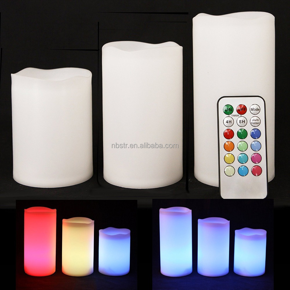 Battery Operated Remote Control multi Color Changing Real Wax Flameless Led candle