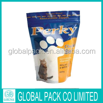 OEM high quality plastic packaging bags for pet dog food with handle