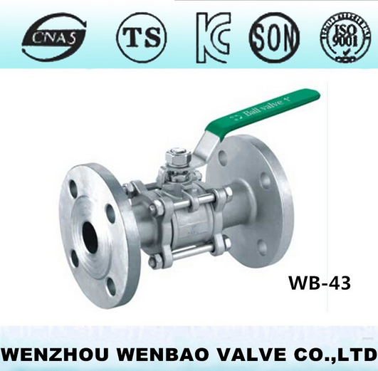 WB-85 DIN Standard three pieces stainless steel ball valve,flanged ends