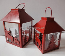 christmas red metal iron sheet lantern with deer