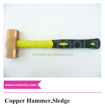 High quality Nonsparking Copper alloy rubber handle hammer sledge