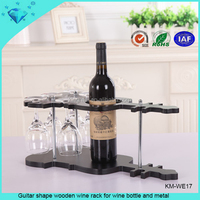 Guitar shape wooden wine rack for wine bottle and metal