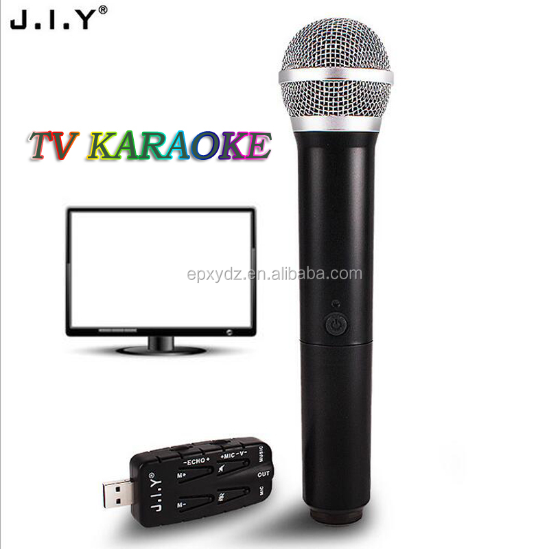 J.I.Y new product smart TV microphone functional USB wireless mic computer TV karaoke microphone