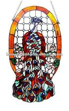 TF-2728 Peacock Roses Tiffany Style Stained Glass Panel